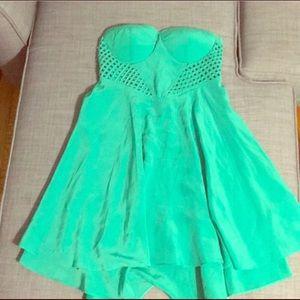 Kelly Green Strapless cutout dress